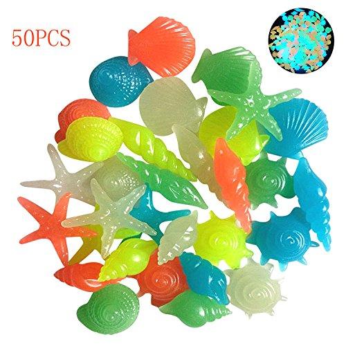 50 stücke leucht steine ??glühen steine ??bunte dekorative starfish muschel shell leuchten in der dunklen landschaft steine ??nachtleuchtende pflastersteine ??für aquarium aquarium vase dekoration