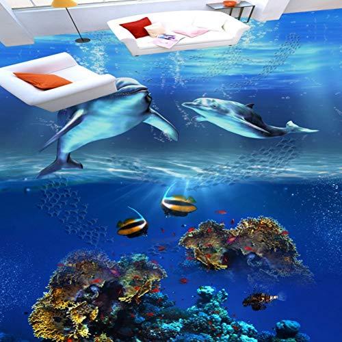 Ocean World 3D Dolphin Bodentapete Selbstklebende Mall Square Corridor Wallpaper Wandbild