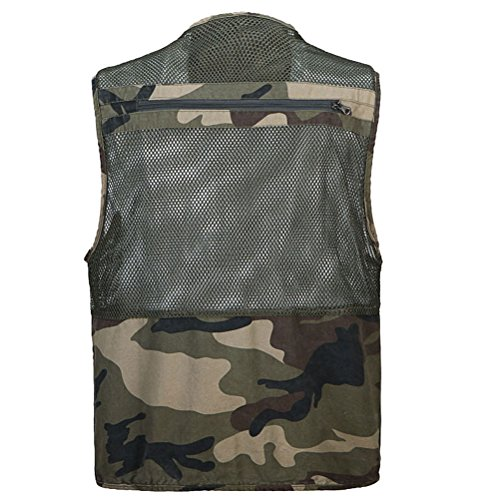 Zhhlaixing Bon tissu Mens Summer Thin Mesh Multifunction Fishing Vest Size:XL-XXXL Gift for Father's Day camouflage