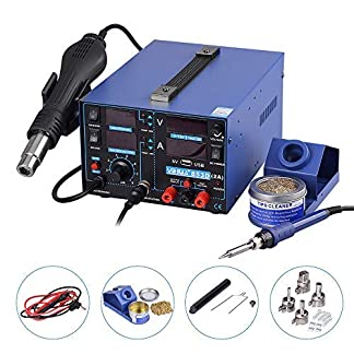 Estacion de soldadura digital 3 en 1 SMD Kit del Soldador Eléctrico con pistola de aire USB 853D 2A