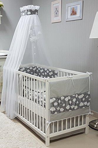 Babymajawelt® Baby Bettwäsche Set, Bett Set 5 TEILE, VOILE fürs BABYBETT 70x140 cm, Bettwäsche 100x135, Nestchen, Himmel Voile (Baldachim, Moskito) (BiG DREAM grau) -