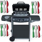 Barbecue Grill BBQ a Gas Giardino Griglia Picnic Terrazzo 2+1 Colore Nero