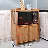 Küchenwagen HWF Küchenregale Mikrowellenherd Rackboden Aufbewahrungsbox Küche Zubehör Bambus (Größe : 80cm)