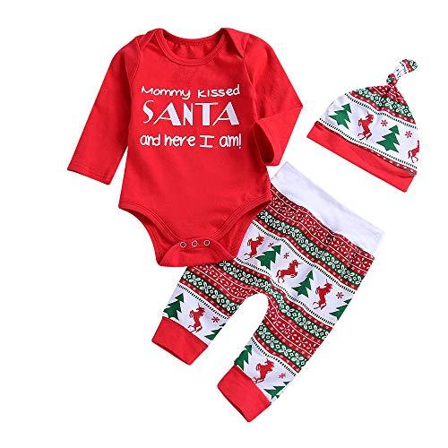 Süße Baby Kleidung Sets Huihong Neugeborenes Baby Mädchen Brief Strampler Tops + Hosen + Hüte Weihnachten Outfits Kostüm (Rot, 12-18 Monate/90)