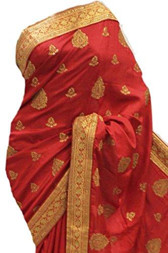 RUBS2945 Saree squisito rosso e oro per feste Indian Bollywood Party Saree Rosso