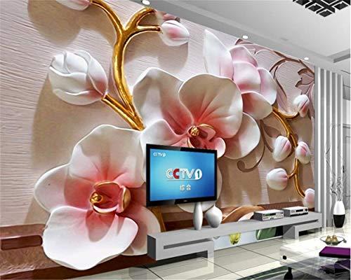 Fototapete 3D Phalaenopsis Relief Wall Moderne Mode Floral dekorative Malerei (Size : 140cm x 70cm) Floral Relief