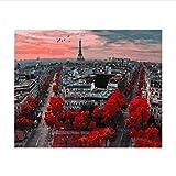Interesante París Desde La Altura Coloración Por Números Pintura Al Óleo Pintada A Mano De Bricolaje Por Números En Lienzo Wall Pictures For Living Room 50X60CM