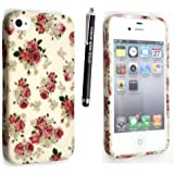 APPLE IPHONE 4 4S SILICONE GEL SKIN CASE COVER+FREE STYLUS (ROSES ON WHITE)