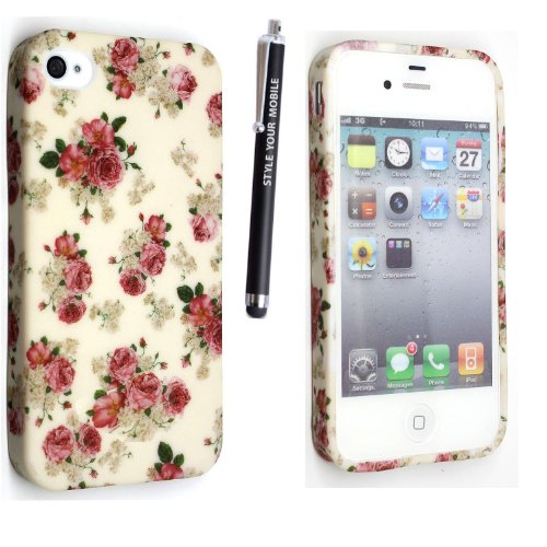 APPLE IPHONE 4 4S SILICONE GEL SKIN CASE COVER+FREE STYLUS (MULTI DOG CAT PAW FOOT) ROSES ON WHITE
