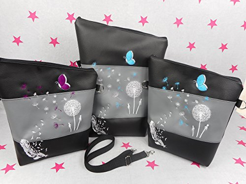 pinkeSterne ☆ Handtasche Umhängetasche Schultertasche Kunstleder Handmade Bestickt Stickerei Handmade Pusteblume Türkis Lila Schmetterling (Tote Bestickte Tasche Personalisierte)