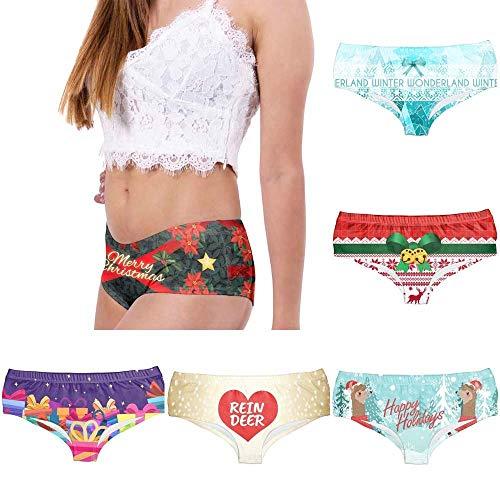 POLP Ropa Interior de Bikini de Talle bajo Erotica Ropa Interior para Mujeres Bragas de Cintura Baja Cómodo Bragas de Navidad con temática de Mujeres Una Talla Cintura 64-84cm