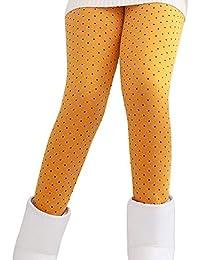 Guiran Niña En Mallas Leggings Puntos Elástico Pantalones Plus Espesamiento Leggins Punto Amarillo 100CM