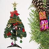 Klein Künstlicher Weihnachtsbaum mit LED Beleuchtung - Motent 60cm Christbaum mit Ständer und Weihnachtsschmuck Mini Tannenbaum DIY Weihnachten Dekoration für Hause Küche Party Festival Winter