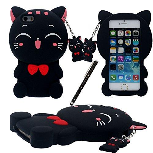 iPhone SE Coque, Cartoon Case 3D Charmant Kitty Chat Forme Chat Pendentif Désign Doux Silicone Plastique Housse de Protectora pour Apple iPhone 5 5S 5C SE avec 1 stylet noir