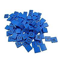 Hupoop  100 Wooden Scrabble Tiles Black Letters Numbers For Crafts Wood Alphabets (Blue)