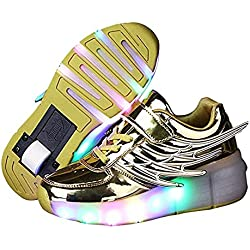 LED Zapatillas Deporte Patín Ruedas Luminoso Formadores Flying Niños LED con un Adulto Rueda Intermitente Zapatos (Amarillo,EU 39)