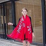 TYERY Elegantes Damas Flor Cálidas Borlas Otoño e Invierno Bufanda de Cachemira Bordada Versátil Bufanda de Cachemira Bordada Chal Cheongsam, Rojo Brillante, 200 cm