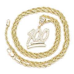 Idea Regalo - Collana da uomo placcata oro, con maglia diamantata, con pendente a forma di emoji di 100, diamantato