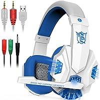 juego de auriculares con micrófono y luz LED para ordenador portátil, teléfono móvil, PS4