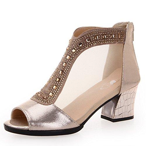 Sommer Damen Mode Sandalen komfortable High Heels, 43 weiß Gold