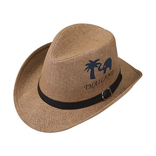 wenjuersty Männer Retro Western Cowboy Sommer Strand Sonnenhut Breiter lockiger Rand Baum Elefant Buchstaben Gedruckt Jazz Eimer Kappe Gürtel Metallschnalle 5 Farben