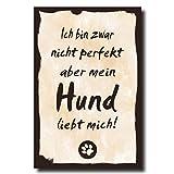 Holzschild Dekoschild Ich bin zwar nicht perfekt aber mein Hund liebt mich mit Spruch 20x30cm Shabby Chic Vintage Wandschild Türschild Holzbild Holztafel Bild