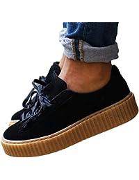 Chaussures plateforme à semelles compensées inspiré creepers rhinana noir / marrron , creeper, puma,