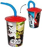 alles-meine.de GmbH Trinkbecher mit Strohhalm -  Star Wars  - für Kinder Kunststoff - Becher - Deckel & mit Insekten Schutz - Sommer Bienen / Trinkhalmbecher - Kunststoffbecher..
