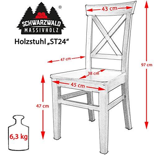 Schwarzwald Massivholz Esszimmerstuhl ST24 Anastasia Holzstuhl belastbar bis 150 kg Gastro Qualität in 3 Farben (2 Stühle, Buche Naturlackiert)