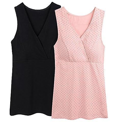 ZUMIY® V-Neck de maternité Soutien-gorge d'allaitement Vêtement Top de Nursing Grossesse Cami Tank, T-Shirt-Maternité Femme (M, Black+Pink Dot/