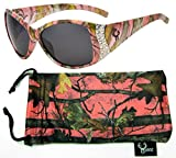 Hornz camuflaje del rosa gafas de sol polarizadas para las mujeres del Rhinestone acentos y que coinciden con bolsa de microfibra – Marco rosado de Camo - Lente Humo