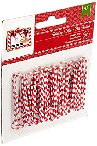 Christmas Decorative Paper Clips 30/Pkg-Candy Cane