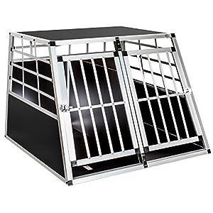TecTake Cage de transport chien aluminium pour transport en voiture double + paroi de séparation