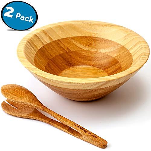Juego de Cuencos para Ensalada (bambú, 21,6 cm de Ancho, tamaño de Fiesta)