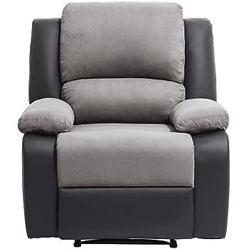 UsineStreet Fauteuil Relaxation 1 Place Microfibre Simili DETENTE - Couleur  - Gris Noir 5c1a0d749d38
