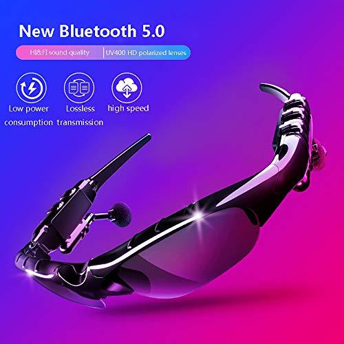 Cpippo Wireless Bluetooth Sonnenbrille Stereo Kopfhörer Digital Brillen mit Musik MP3-Player Musik Kopfhörer mit Kamera-Funktion für iPhone Android Smartphones und alle Geräte mit Bluetooth,Black
