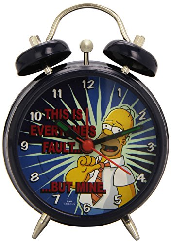 The Simpsons - Reloj Despertador 7.5 cm, Color Azul (United Labels 807652)