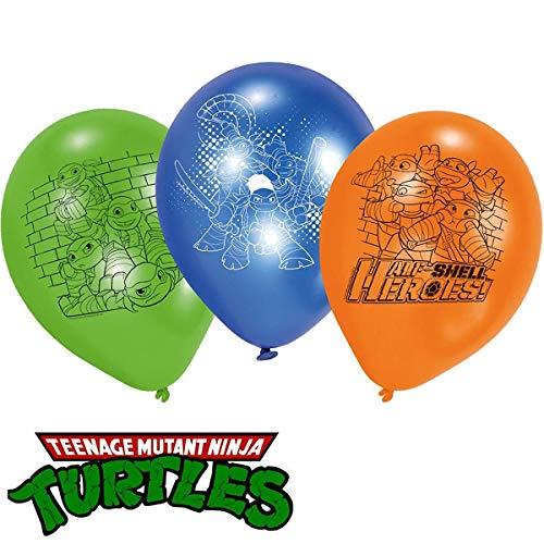 Amscan 6 Latex-Ballons * Teenage Mutant Ninja Turtles * als Deko für Eine Mottoparty Oder Kindergeburtstag // Half Shell Heroes // Schildkröten Superheld Party Geburtstag Luftballons (Ninja Turtles Ballon)