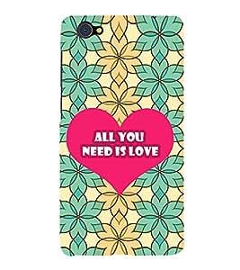FUSON floral pattern all you need is love pink heart shape love symbol Designer Back Case Cover for Vivo V5S