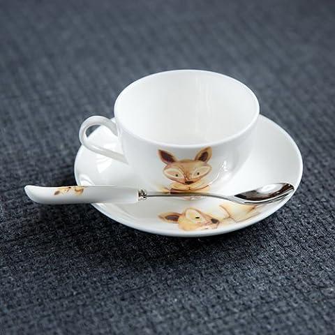 taza de té de porcelana y platillos ET taza de café redondos conjunto con la cuchara salsa de rand (Fox)