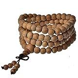 MJARTORIA Lebensbaum Sandelholz Mala Perlen Strang Buddhistisches Gebet Armband 6 Fache Wickelarmband Perlenarmband Gelb