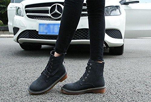 KUKI Scarpe da donna, stivali da donna, stivali, stivali Martin, pizzo, tubo corto, ruvido con, piatto, moda, casual 001