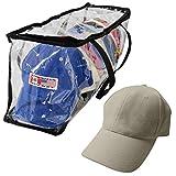 Evelots Baseball Cap Storage Bag Zipper Organizer Clear Plastic W/ Black Handles