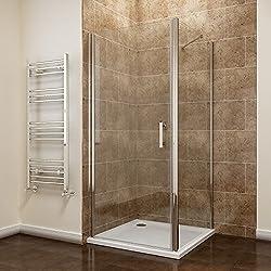 760 x 760mm Frameless Pivot Shower Door Enclosure 6mm Safety Glass Reversible Shower Cubicle Door + Side Panel
