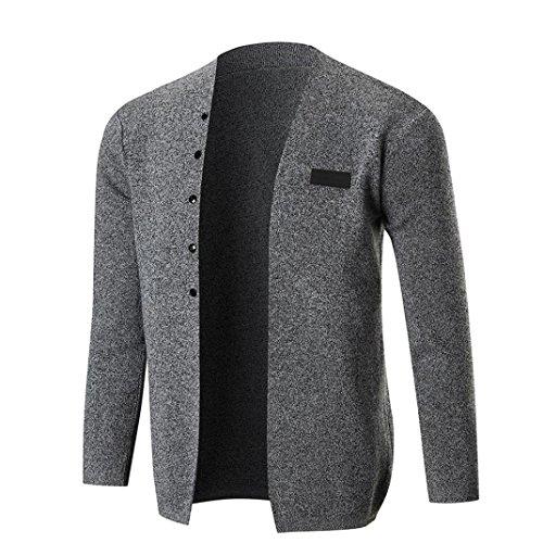 Langarm Strickjacke Herren,DoraMe Männer Feste Farbe Mantel Slim Stricken Bluse Herbst Winter Lässig Outwear(Bitte wählen Sie eine größere Größe als üblich) (Dunkelgrau, S) (Mischung Anzug)