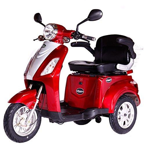 elektroroller senioren Rolektro E-Trike 25 Rot mit EU Zulassung Elektroroller E-Scooter 600 W Motor 50 KM Reichweite 25 KmH Höchstgeschwindigkeit Eroller E-roller Elektro-Roller Scooter elektrisches Dreirad 3-Rad