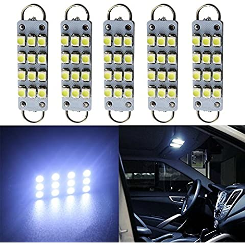 Grandview 12 V DC Car Interior lampadine 12 SMD 1210 3528 Chip luci Festoon 44 mm Rigido Loop per Car (Lampadina Loop Rigido)