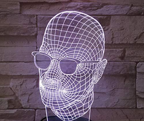 Zcmzcm 3D Nachtlichter Led 7 Farbersatz Männer Mit Sonnenbrille Touch Schalter Schlafzimmer Wohnzimmer Party Dekoration Geschenke Kinderspielzeug Usb Weißes Chassis
