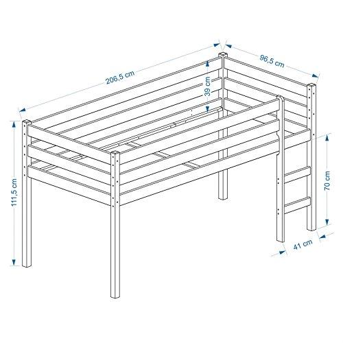 Hochbett für Kinder Spielbett ERIK, Kiefer massiv, weiß lackiert mit Vorhangset Prinzessin 90 x 200 cm (B x L) -