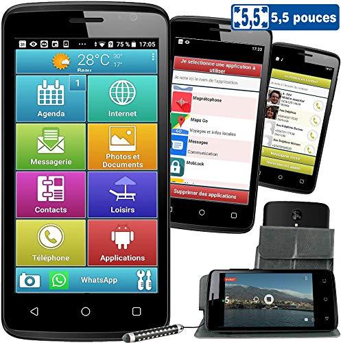 Mobiho-Essentiel Le SMART ORIGINE 5.5 pouces, Un modèle 4G - interface senior ergonomique pour...